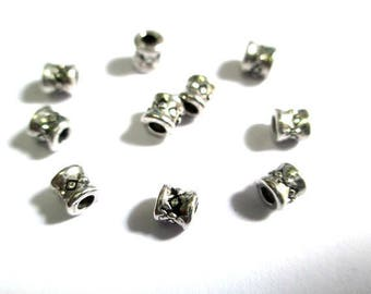 20 metal beads spacers antique silver 3.5 mm