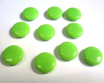 10 pucks 14x5mm green acrylic beads