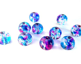 10 transparent beads drawbench round fuchsia and blue glass 8mm