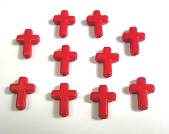 10 red acrylic 16 x 12 x 4 mm beads