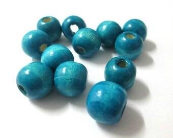 10 Blue 12mm wooden beads