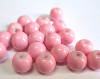 Pink painted glass 6mm (u15) 20 beads