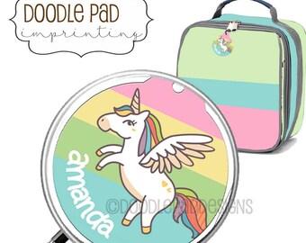 Unicorn Lunch box ID Tag, Coat Jacket Tag, Personalized Free