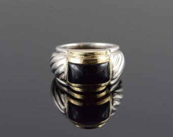 Sterling Silver/14k Amal Guessous Black Onyx Ring Gold