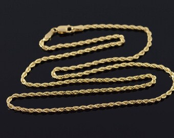 """14k 1.8mm Rope Link Chain Necklace Gold 17.9"""""""