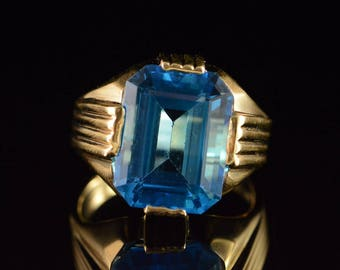 14k 11.00 Ct Blue Topaz Statement Ring Gold