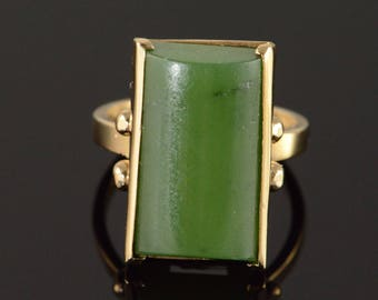 14k 19x10mm Vintage Jade Ring Gold