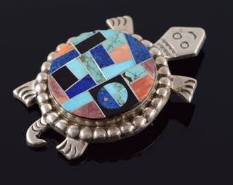 Alvin Yellow Horse Turquoise Mosaic Turtle Native American Pendant/Pin Sterling Silver