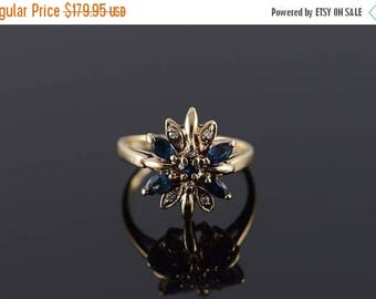 Big SALE 14k 0.80 CTW Sapphire Diamond Starburst Ring Gold