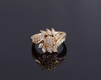 14k 0.80 Ctw Diamond Cluster Marquise Floral Ring Gold