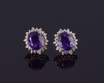 14k Amethyst Diamond Halo Oval Starburst Earrings Gold