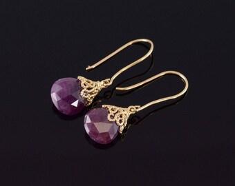 14k Faceted Ruby Teardrop Filigree Hook Back Earrings Gold
