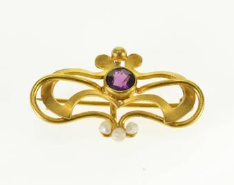 14k Victorian Amethyst* Seed Pearl Watch Hanger Pendant/Pin Gold