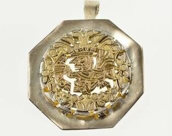 k Two Tone Ornate Mayan Tribal Ocatgonal Pendant/Pin Sterling Silver
