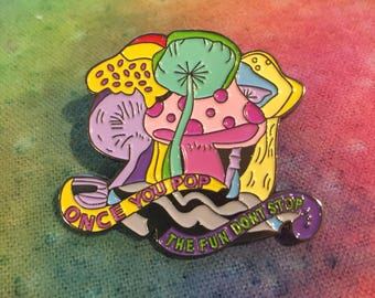 Psychedelic Fungus Hat Pin