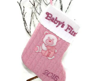 CLEARANCE: 2016 Pink Baby's First Christmas Stocking