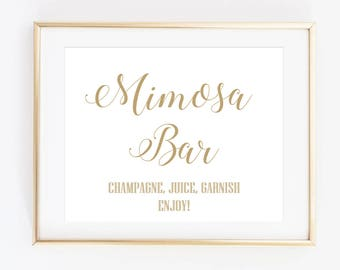 Mimosa Bar Sign, Printable Wedding Signs, Bubbly Bar Sign, Wedding Reception Signage - INSTANT DOWNLOAD - WP2GW