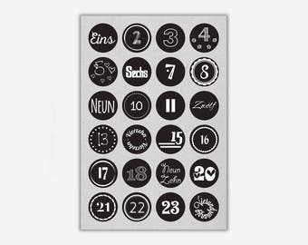 Stickers 1-24 'JOY', black // 24pcs. - 4cm