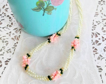 GORGEOUS Vintage Pearl with Pink Shells Necklace-Twisted Triple Strand-Looks Like Roses-Rare-Shabby Chic-All Orders Only 99c Shipping!d