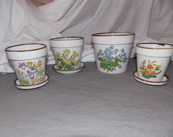 Vintage ceramic set of 4 flower pots 1970's Herbs