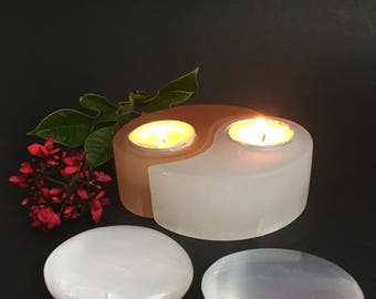 Selenite candle holder with two Selenite palm stones Selenite crystal candleholder Yin Yang candle holder chakra reiki Gift set package