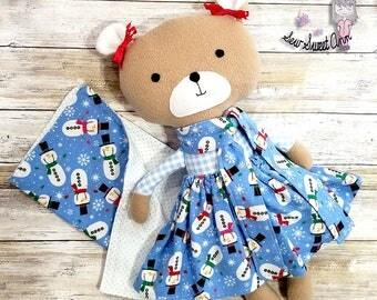 Christmas Teddy Bear, Holiday Stuffed Animals, Winter Snowman soft Toy Bear