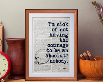 J D salinger quote  - dictionary page literary art print home decor present gift home decor catcher in the rye