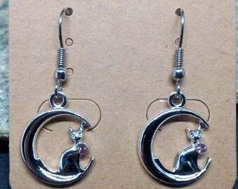 1 pair of earrings on stainless steel Moon cat