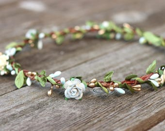 Flower Crown Gold - Blue Flower Crown - Rustic Floral Crown - Fall Flower Crown Greenery - Hair Wreath Ivory Flower Halo - Simple Wedding