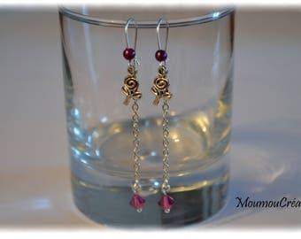 Purple silver chain earring.