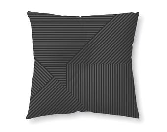 Black and Grey Striped - floor pillow