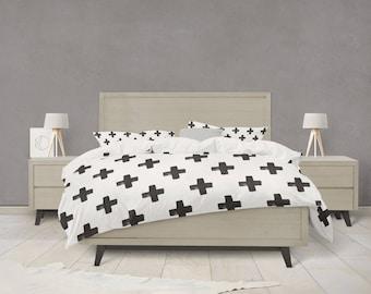 Black and white swiss cross pattern duvet cover