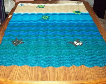 3D Sandy Shore To Sea Blanket 2 Starfish 5 Baby Sea Turtles Hatch-lings Crocheted By Me For You Throw Blanket Your Choice Size and Colors