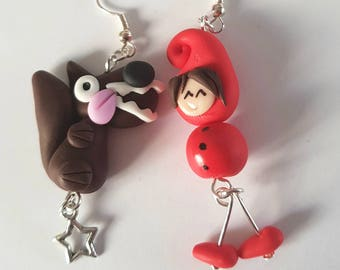 Little Red Riding Hood and Wolf 2 fairy tale character earrings
