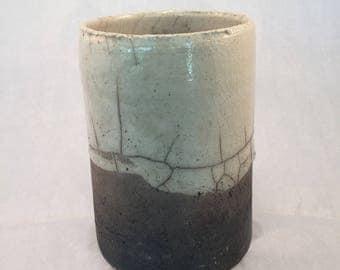 Vase cylindrical white raku