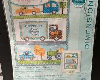 Baby Hugs Counted Cross Stitch Kit Patchwork Happi  Transport Truck Cars Tractor Birth Record Sunset Dimensions New Sealed