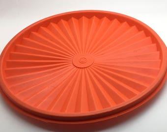 "Vtg Tupperware  Starburst Replacement Lid Instant  Seal Cover Orange Tangerine 1205 8 """