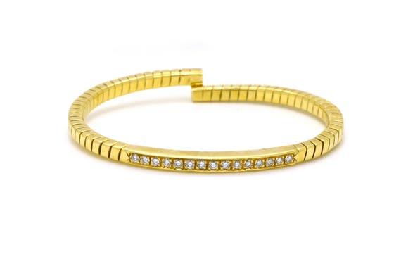 Vintage 18k Yellow Gold Diamond Flexible Cuff Bracelet 0 25