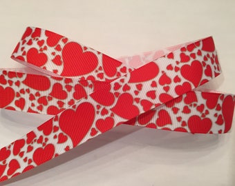 "Hearts 7/8"" Grosgrain Valentine Ribbon"