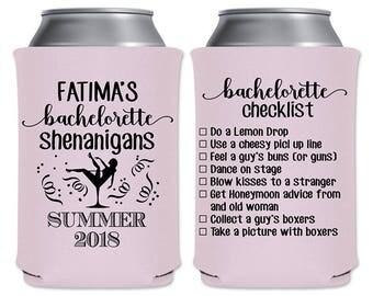 Personalized Bachelorette Party Favors Custom Beer Coolers Beverage Insulators | Bachelorette Checklist - Your Own List | READ DESCRIPTION