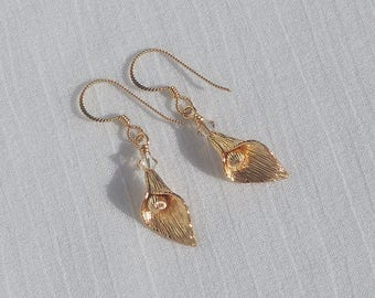 14Kt gold filled calla lily earrings