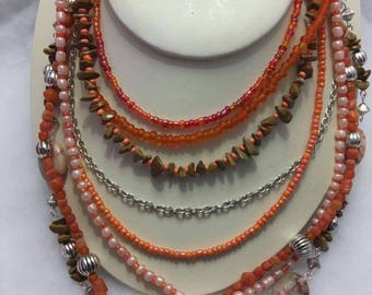 Necklace Gemstone Jasper Chip Multistrand Beaded Necklace