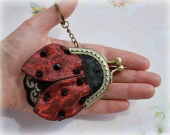 Ladybug Coin Purse, Wee purse, Small Purse Ladybug, Metal frame purse, Keychain Ladybug, Bag charm Ladybug, Elegant accessory
