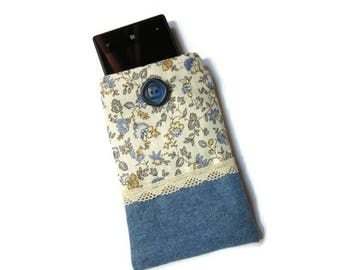 cover, pouch, blue liberty fabric and denim phone case