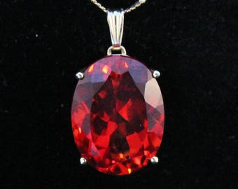 Estate 14K Yellow Gold 27 Carat Oval-Cut Padparadscha Sapphire Pendant 6.42 Grams