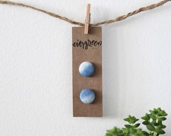 Blue Ombré Hand Dyed Fabric Button Earrings