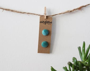 Turquoise Hand Dyed Fabric Button Earrings