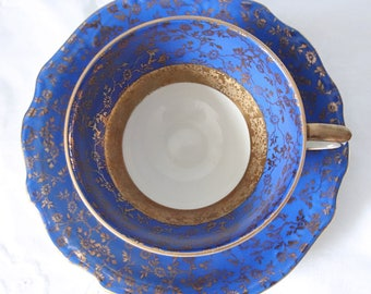 Beautiful Vintage Cobalt Blue Teacup and Saucer, Gold Flower Decor, Kronester Bavaria, Germany