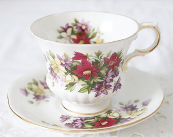 Vintage Paragon 'Flower Festival' Fine Bone China Cup and Saucer, England
