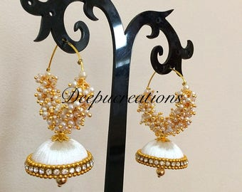 Silk thread hoop loreals earrings #jhumkas